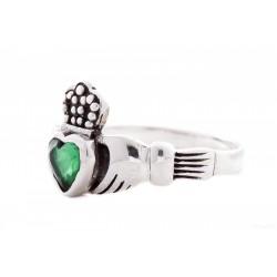 Anello Claddagh - Fede Irlandese con Zircone Verde  tg. 44/5