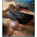 Cintura in tessuto intrecciata a mano con Albero della Vita in Legno di Cocco