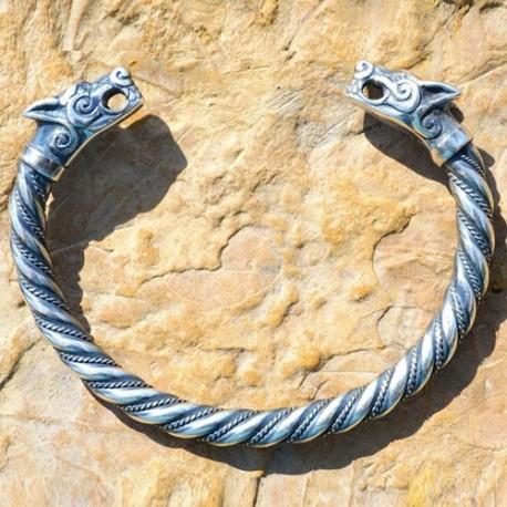 Bracciale Vichingo Torque con teste di Lupo in peltro