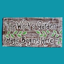 Targa Witches Garden in Legno