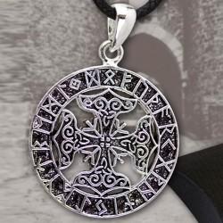 Ciondolo con Futhark e Martelli di Thor in Bronzo Placcato Argento