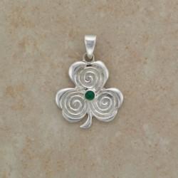 Ciondolo Trifoglio Spirali e Zircone Color Smeraldo
