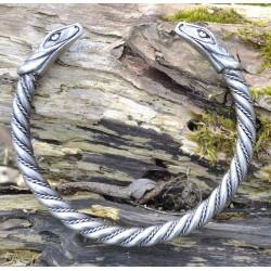 Bracciale Vichingo Torque JÖRMUNGANDR, con teste di serpente