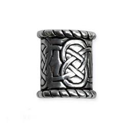 Anello da Barba o Perla per Capelli in Bronzo Placcato Argento con Intreccio Celtico III