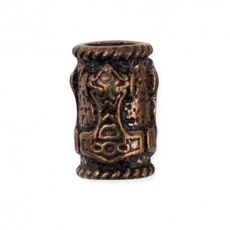 Anello da Barba o Perla per Capelli con Martello di Thor in Bronzo