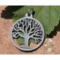 White Metal Tree Pendant
